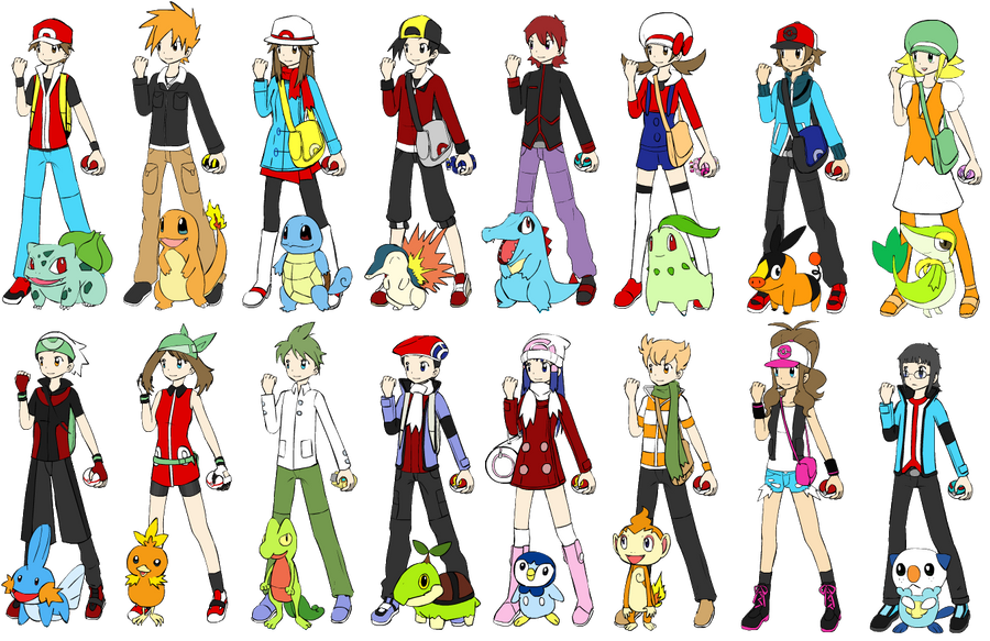 all the pokemon main trainers by narusasusupporter on
