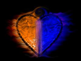 Fiery two-tone heart [Blue, Orange] by impraziel