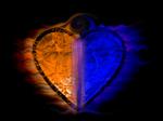 Fiery two-tone heart [Blue, Orange]