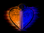 Fiery two-tone heart [Blue, Orange]