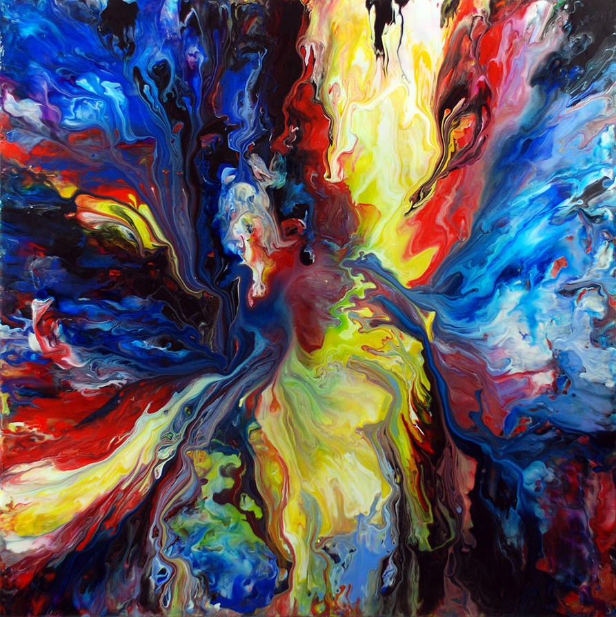 Colourful acrylic fluid painting by mark chadwick on for Acrylic mural painting techniques