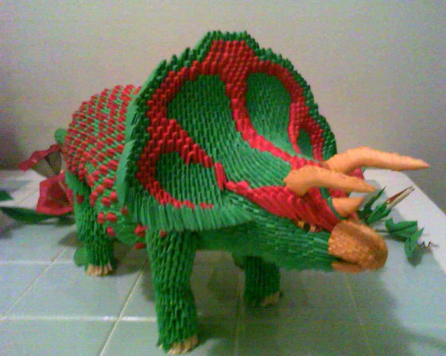 3d origami triceratops by dfoosdc on deviantart rh deviantart com 3d origami dragon boat diagram Baby Dragon Origami Diagram