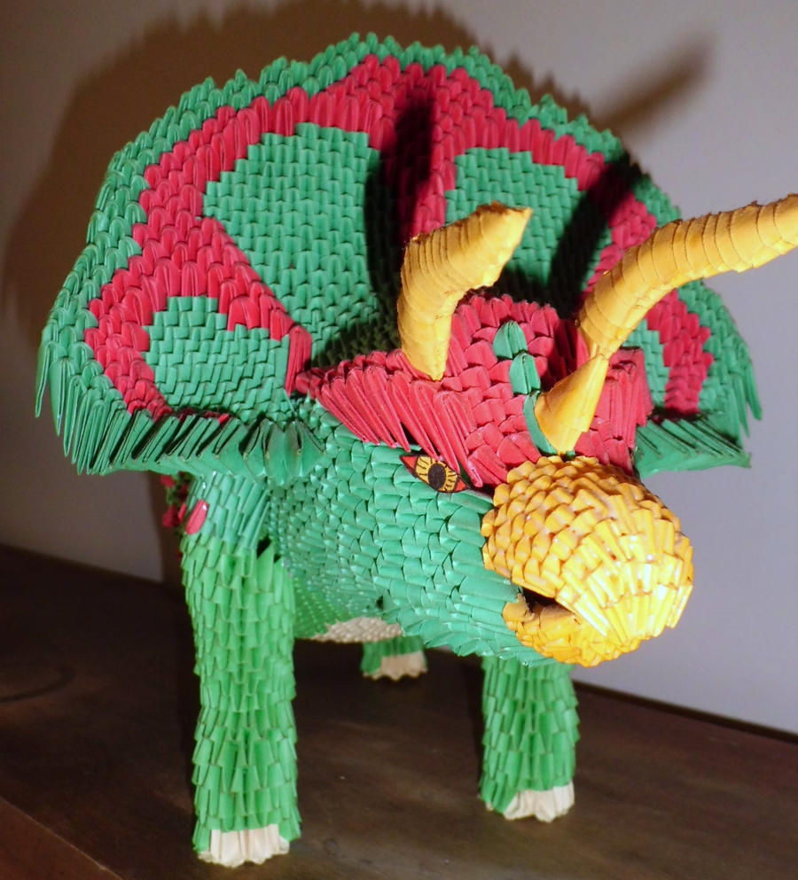 3d origami Triceratops 1 by dfoosdc