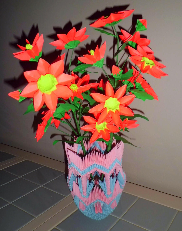 Видео оригами цветы в вазе
