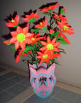 origami vase and flowers