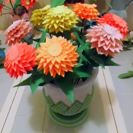 How to make a paper zinnia flower 3d origami zinnias and urn by dfoosdc on deviantart mightylinksfo