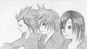 Axel, Roxas and Xion by kisapancake