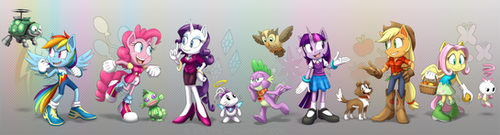 Sonic Style Ponies - Main Six and Pets by BlazeTBW