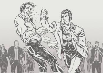 Kazuma Kiryu Kicking Ass sketch by guilhermerw