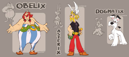 Asterix, Obelix and Dogmatix in my style