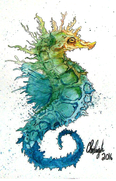 Seahorse In Watercolor by TravelingArtist93