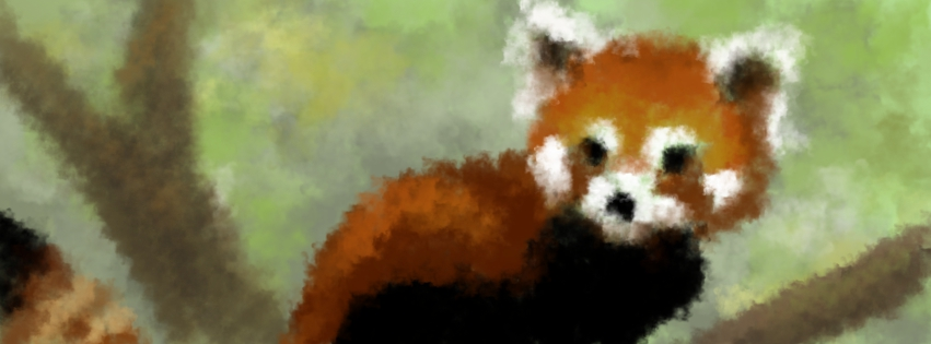 Red Panda in Smokey Brushes by JenniferElluin