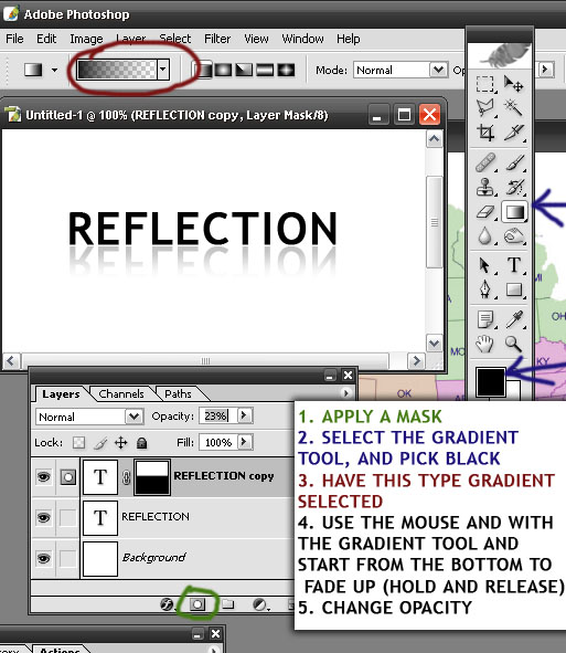 how to make text reflect image in photoshop