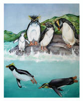 Penguins of New Zealand by wyrdgrendel