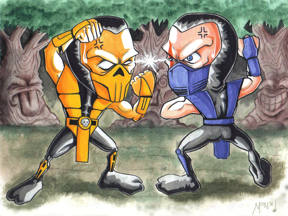 sub zero vs scorpion fatality. sub zero and scorpion. sub