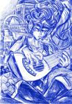 Kretaria man plays his weird guitar
