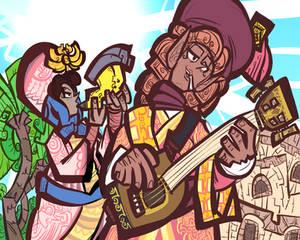 Kretari musicians by an oasis