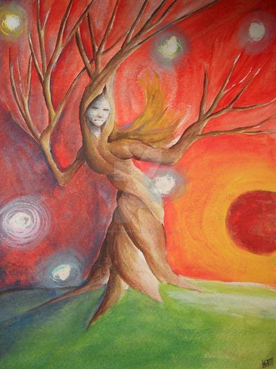 Sun Dance - Watercolor/Acrylic and Gouache by HarmoniousReprise