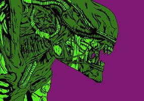Alien Xenomorph (coloured) by The-Silver-Spartan