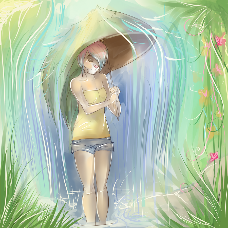 Kiwi Pineapple Parasol by ssnugglepunk