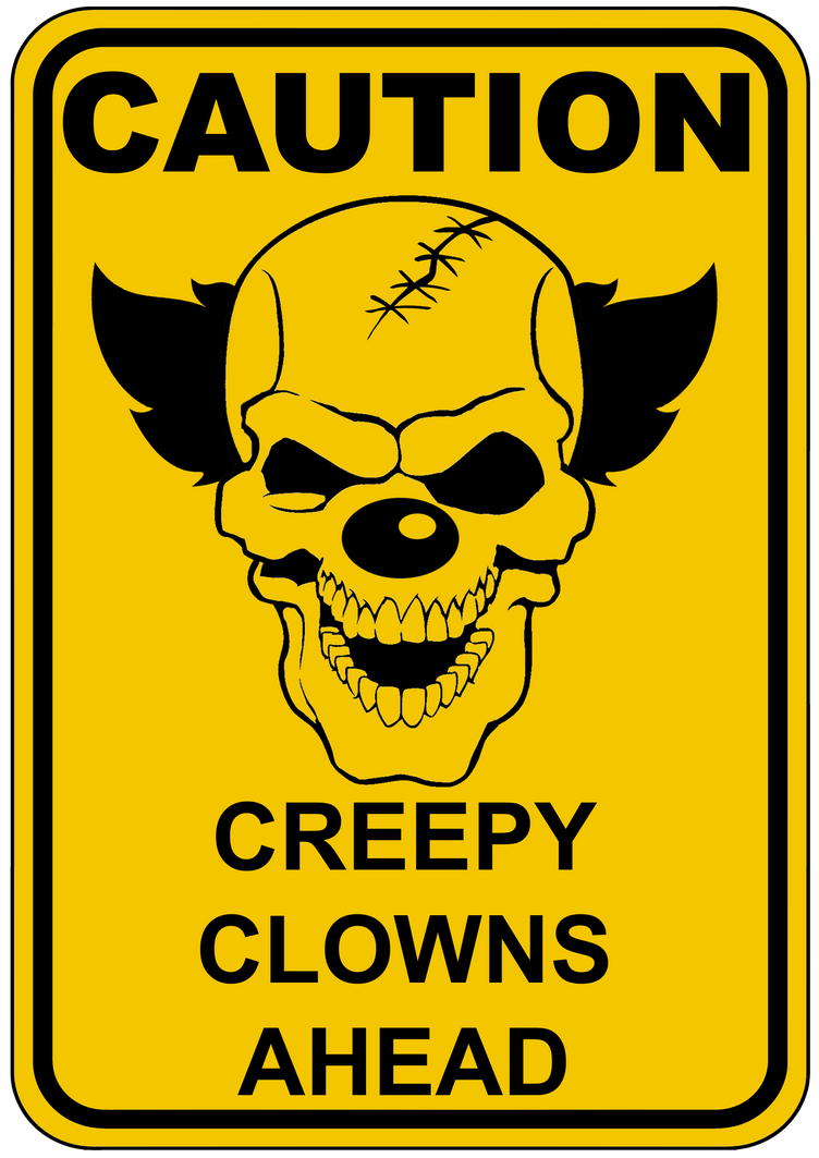 Creepy Clown Portrait Sign by topher147