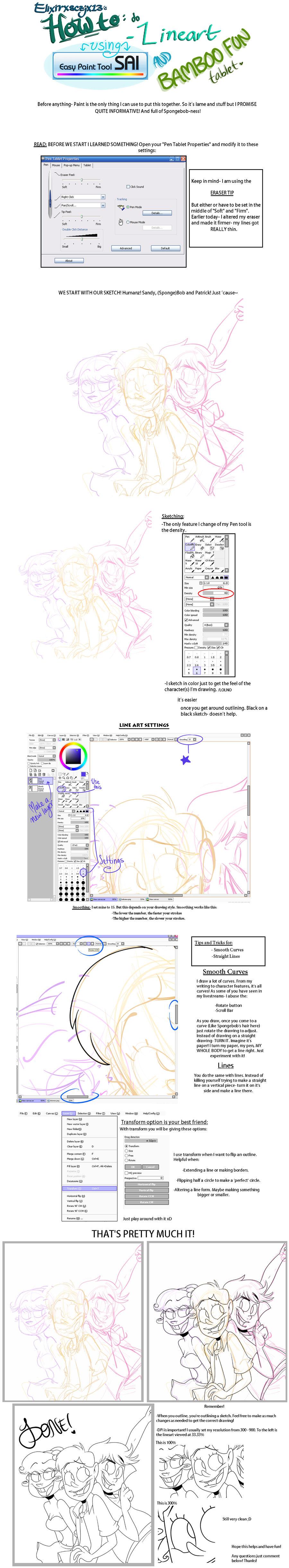 Lineart on Paint Tool Sai by elixirXsczjX13
