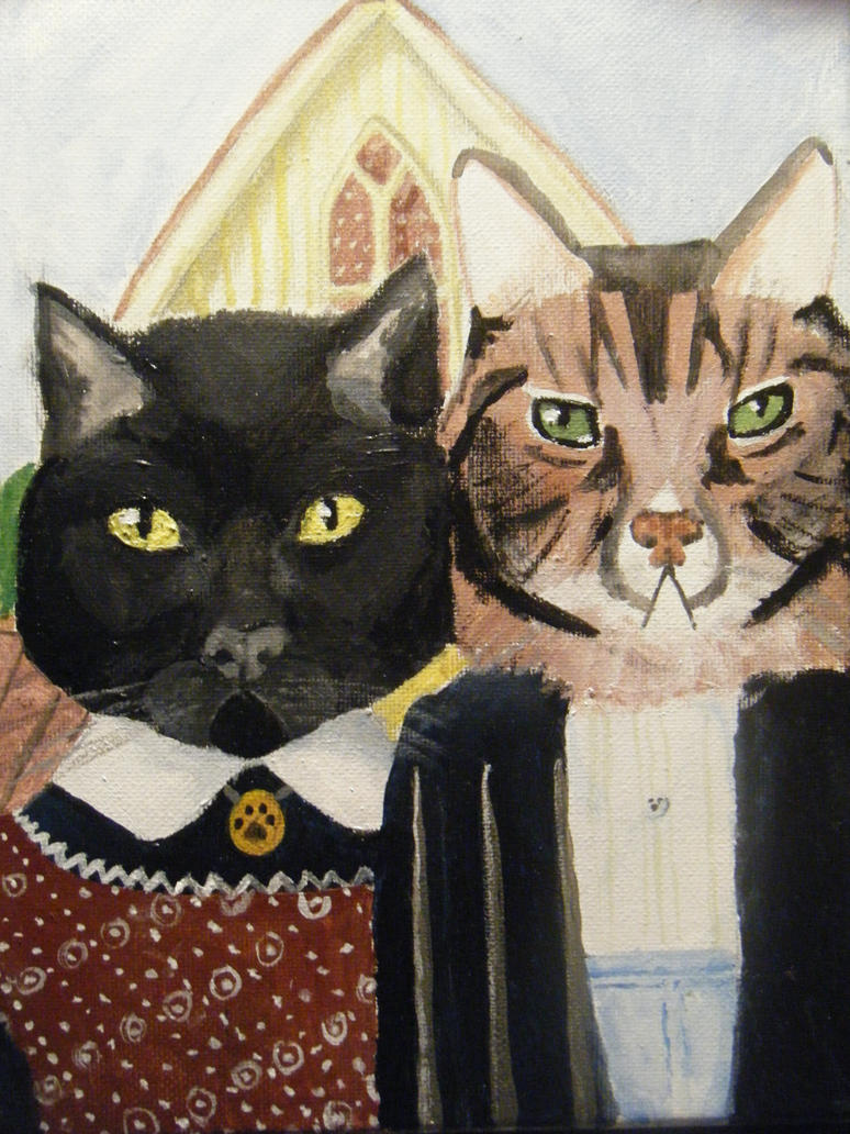 My Cats In American Gothic By Cjernest