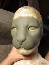 Human/tiger hybrid sculpt by Puzzels
