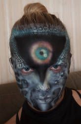 Airbrush makeup tests - evil eye by Puzzels