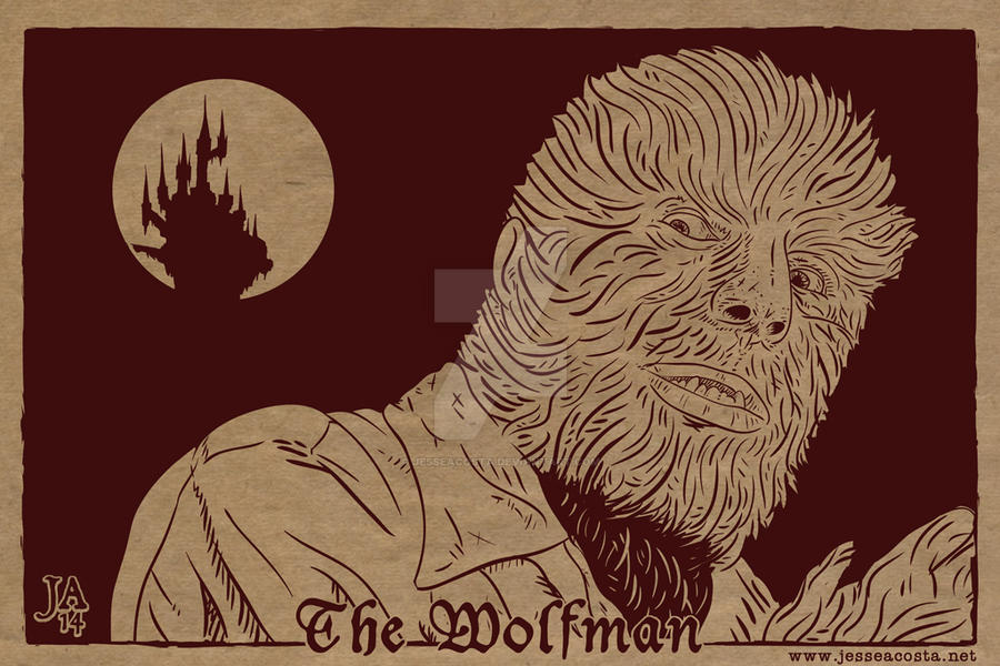 Lon Chaney Wolfman Silkscreen Postcard by JesseAcosta