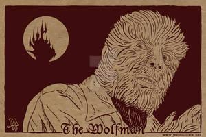 Lon Chaney Wolfman Silkscreen Postcard by JesseAcosta