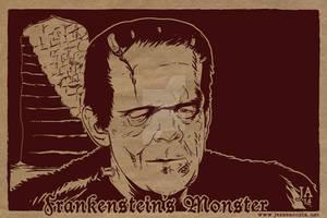 Frankenstein Silkscreen Postcard by JesseAcosta