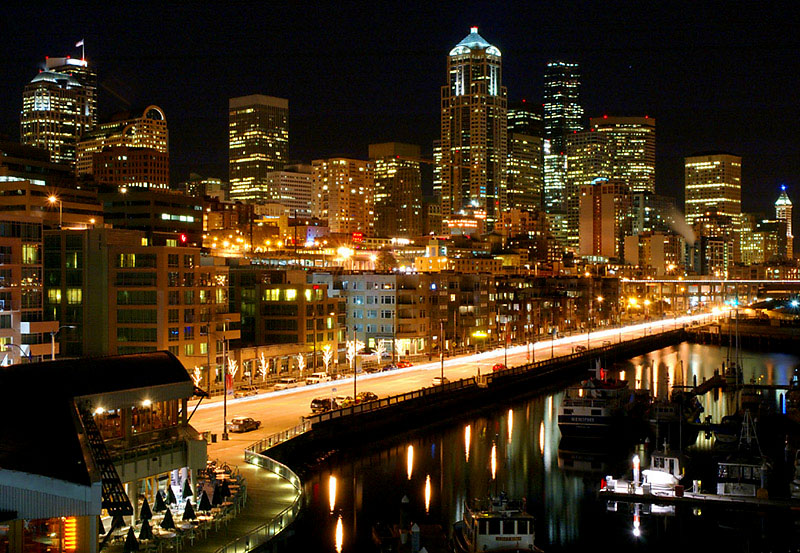 night waterfront cityscape 32