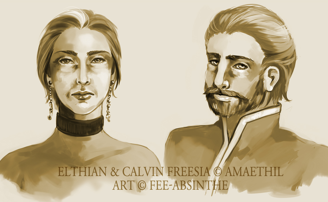 Portrait Commission: Elthian and Calvin by fee-absinthe