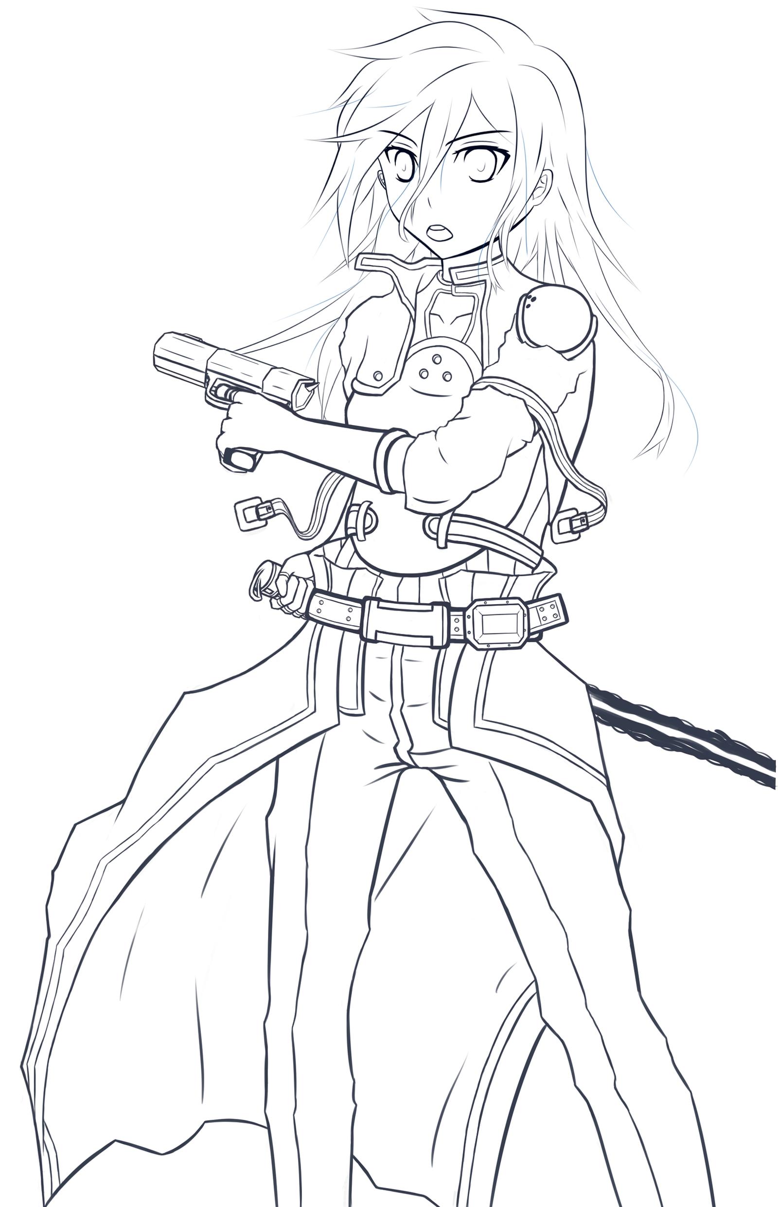 Line Art Gun : Gun gale online kirito drawing imgkid the