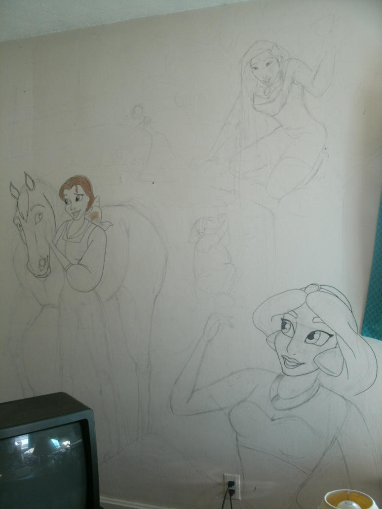 Disney princess wall mural by cowgirlspirit on deviantart for Disney princess mural