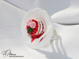 Cake with rose Polymer clay, handmade by OrionaJewelry