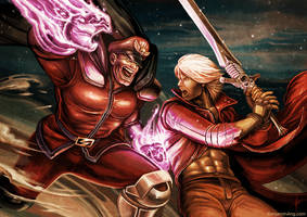 M.Bison VS Dante by BenjaminAng