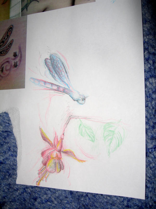 Dragonfly and fuschia - dragonfly tattoo