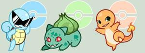 Pokemon: Kanto Starters by StarryTumble