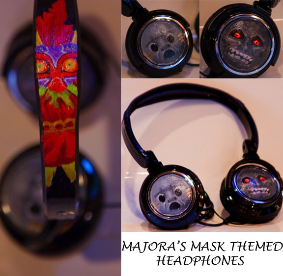Majoras Mask Themed Headphones by ChaoticKelsey