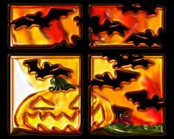 halloween window by puddlz