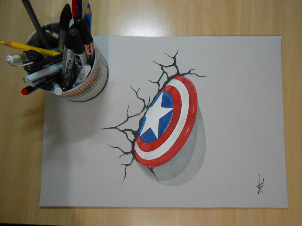 Captain America Shield Drawing: Drawing 3D Shield Captain America DR By DibujarteRiestra