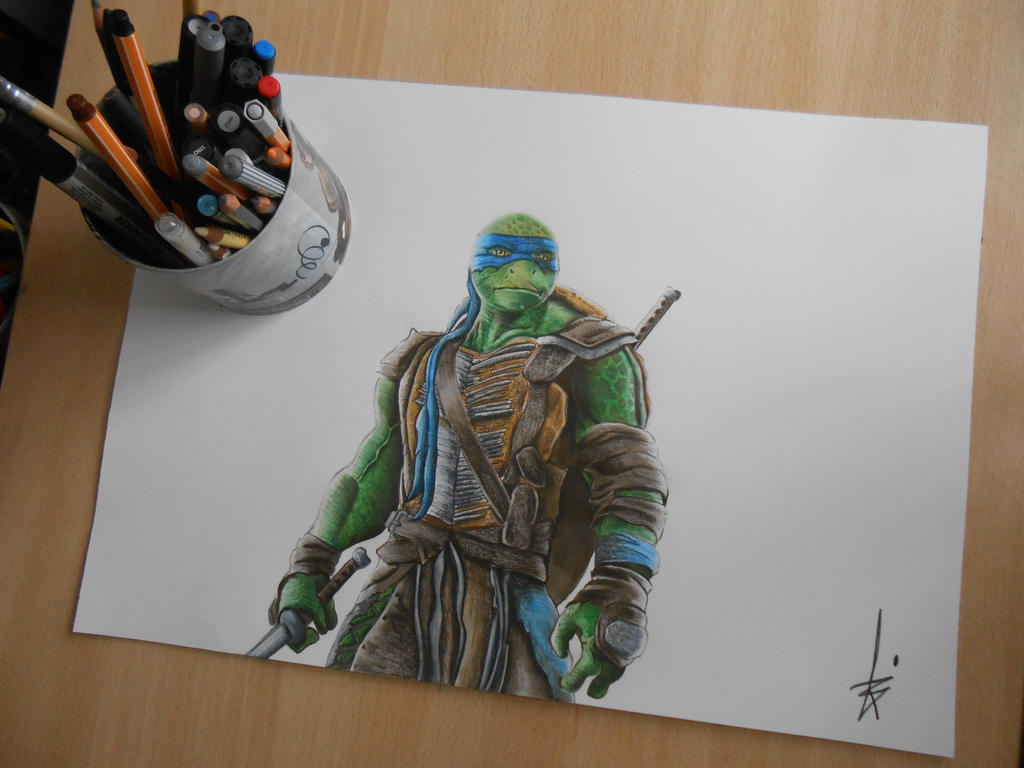 drawing leonardo ninja turtle damian r by dibujarteriestra on