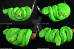 Polymer Clay Green Tree Python Pendant by CustomExotics