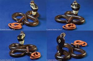 Polymer Clay Monocled Cobra as Indiana Jones! by CustomExotics