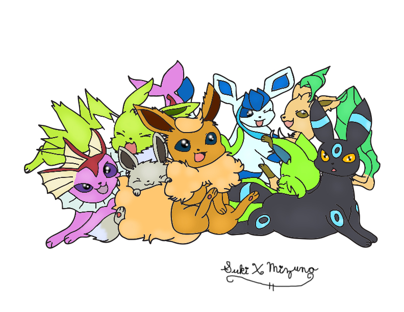 Shiny Eeveelutions by SukiXMizuno
