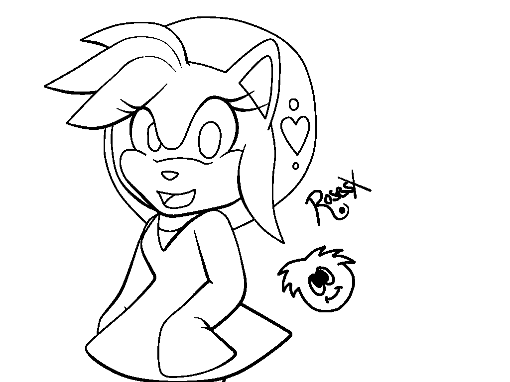 linework amy rose and a puffle by icefatal on deviantart