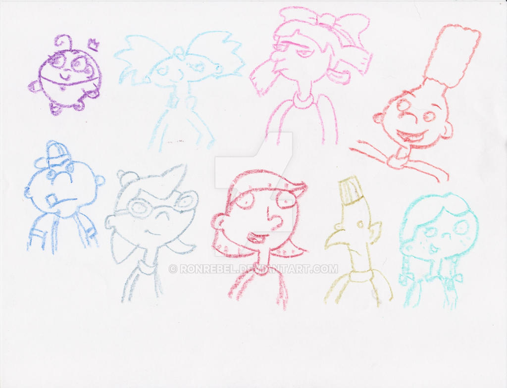 Hey Arnold + Poof Crayon Doodles by RonRebel