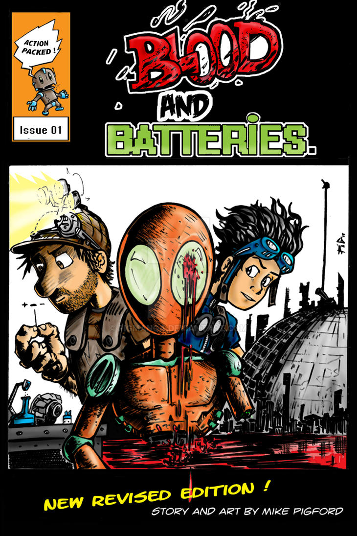 Blood and Batteries cover art by pigmanga
